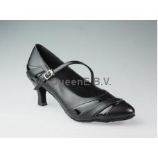 QueenE Ballroom dansschoen 683102 zwart leer met lakleer 7 cm hak