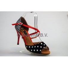 QueenExclusive Salsa en Latin Dansschoen 620501, rood met zwart-wit 9 cm slim hak