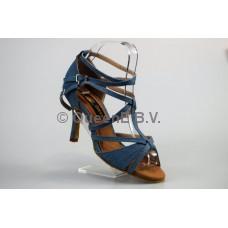 QueenExclusive Salsa en Latin Dansschoen  623202 in jeans satijn en een 8 cm slim hak
