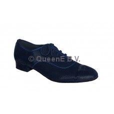 QueenE 250309 in blue velvet ballroom dansschoen