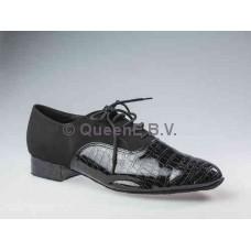 QueenE 250508 in suede ballroom dansschoen met crocodile lakleer