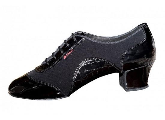 "Aida latin model 138 ""Stefano"" zwart lakleer/crepe satijn 4 cm hak"