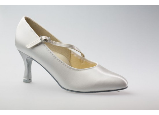 DSI Paris Court shoe (White) with a 2.5 inch flare heel