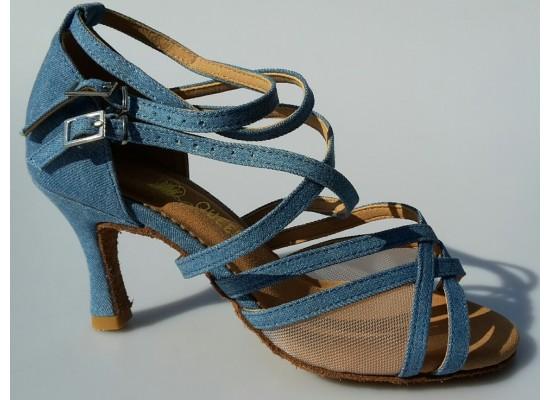 QueenExclusive Latinschoen en salsaschoen in jeans en mesh 6.5 cm flare