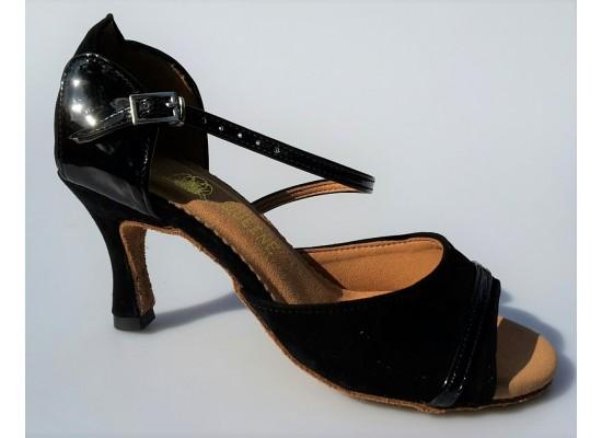 QueenExclusive Latinschoen en salsaschoen in zwart suede met lak 6.5 cm flare