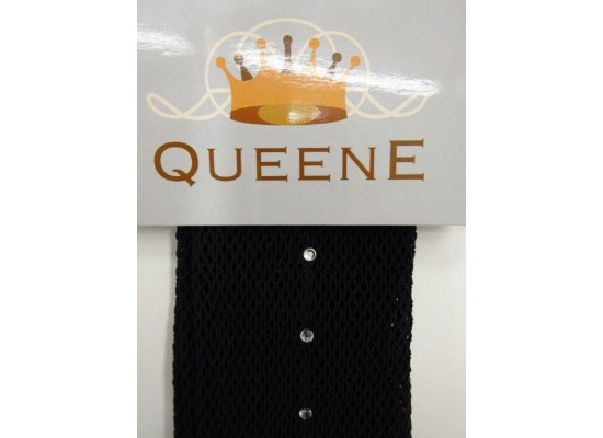 QueenE Fishnet Tights Black with rhinestones