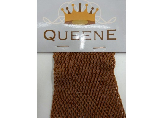 QueenE Fishnet panty light tan footed
