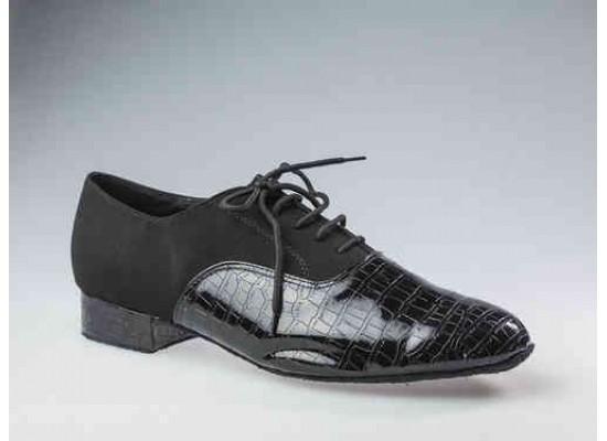 QueenE Men Ballroom dance shoe in black suede with crocodile patent leather