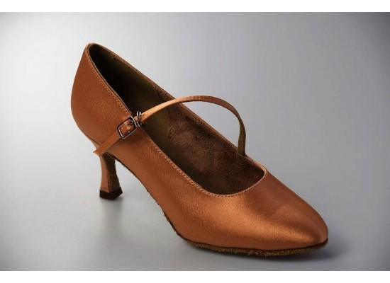 "Court Dance Shoe flesh satin 2.7"" flare heel"