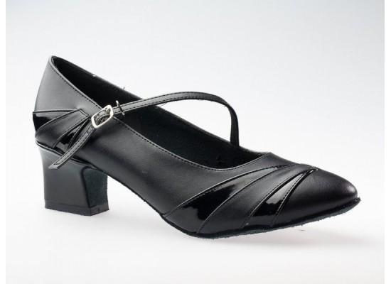 QueenE Ballroom dansschoen zwart leer met lakleer 4 cm hak