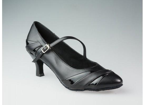 QueenE Ballroom dansschoen zwart leer met lakleer 7 cm hak