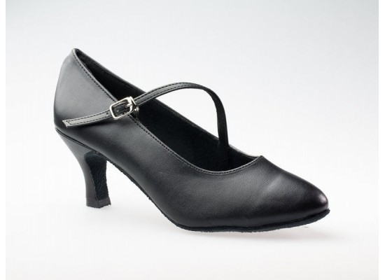 "Court Dance Shoe black leather 2.7"" flare heel"
