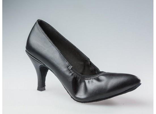 QueenE ballroom dansschoen zwart leer 7 cm slim hak