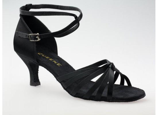 Salsa en Latin Dansschoen zwart satijn 7.5 cm flare hak