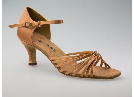Salsa en Latin dansschoen 171201, dark tan satijn 6cm flare hak