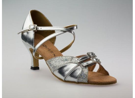 QueenE Salsa en Latin Dansschoen zilver leer met glitter 6 cm flare hak