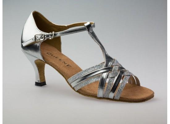 Salsa en Latin Dansschoen zilver leer met glitter 6 cm flare hak