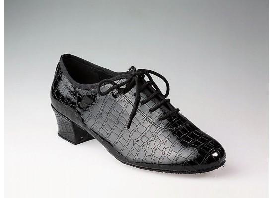 QueenE trainingschoen zwart croc leer 4 cm hak