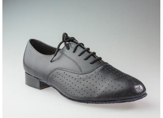 QueenE Wide Men Ballroom dance shoe in black leather