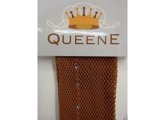 QueenE Fishnet Tights Tan with rhinestones