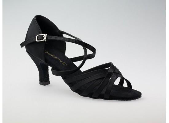 Salsa en Latin dansschoen zwart satijn 6 cm flare hak