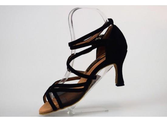 QueenExclusive Salsa en Latin Dansschoen zwart suede en zwarte net 6.5 cm flare hak