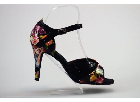 QueenExclusive Salsa en Latin Dansschoen zwart met bloemen 9 cm slim hak