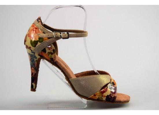 QueenExclusive Salsa en Latin Dansschoen goud met bloemen 9 cm slim hak
