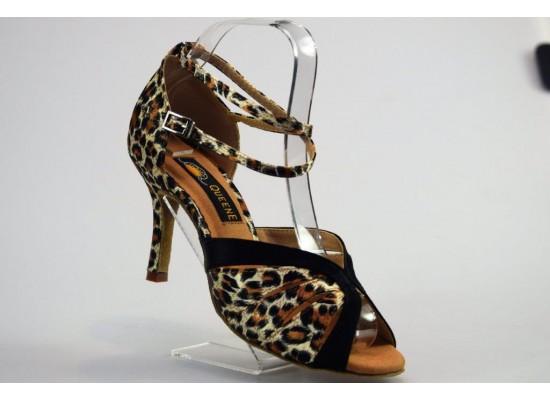 QueenExclusive Salsa en Latin Dansschoen leopard en zwart satijn 8 cm slim hak