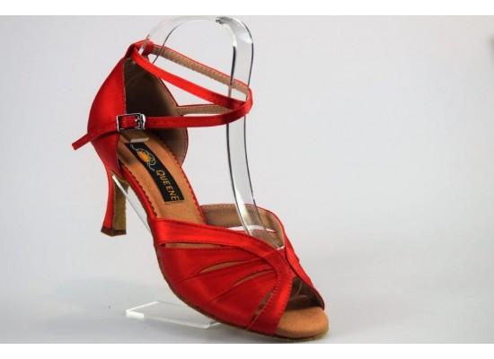 QueenExclusive Latinschoen en salsaschoen rood satijn 6.5 cm flare