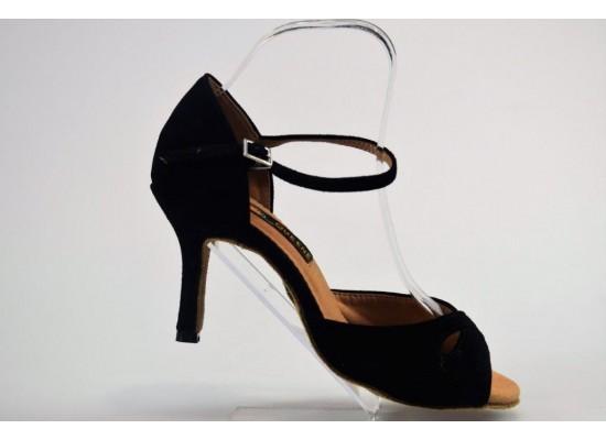 QueenExclusive Salsa en Latin dansschoen zwart suede 8 cm slim hak