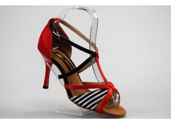 QueenExclusive Salsa en Latin Dansschoen rood en wit satijn 8 cm slim hak
