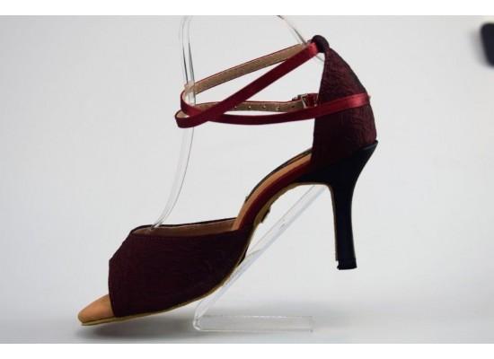 QueenExclusive Salsa en Latin Dansschoen burgundy crepe, zwarte 8 cm slim hak