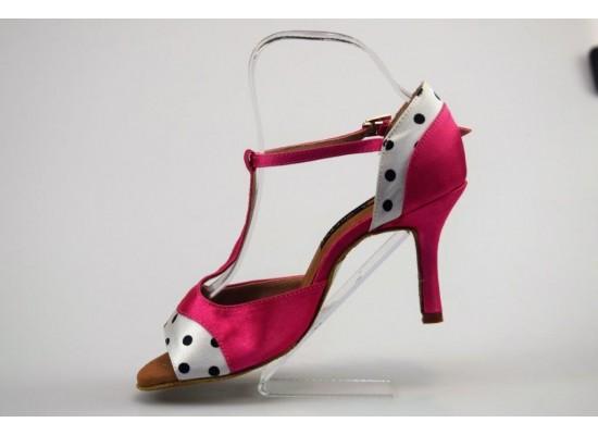 QueenExclusive Salsa en Latin Dansschoen roze satijn 8 cm slim hak