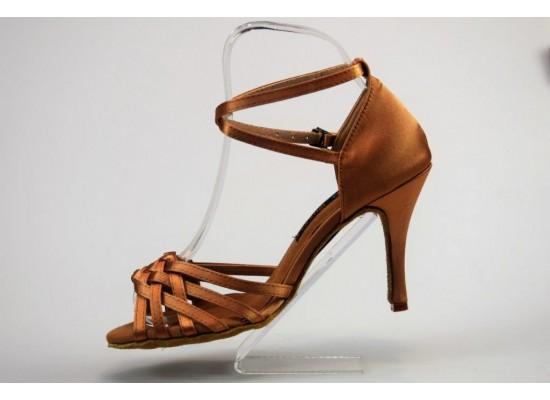 QueenExclusive Salsa en Latin Dansschoen donker huidkleur 9 cm slim hak