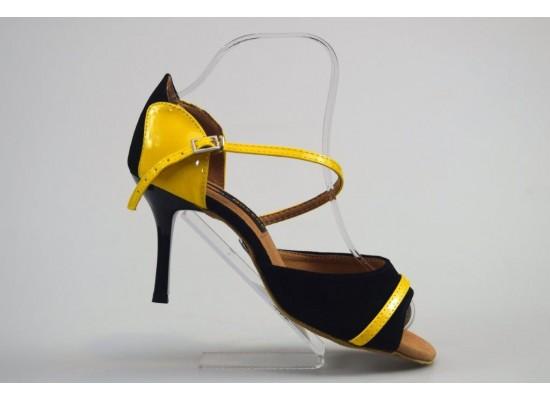 QueenExclusive Salsa en Latin Dansschoen geel lak met zwart suede 8 cm slim hak