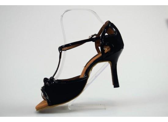 QueenExclusive Salsa en Latin Dansschoen zwart suede met zwart lakleer 8 cm slim hak